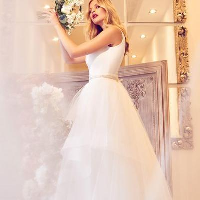 Wedding Dresses - Boston wedding dress, the v neck satin bodice layer tulle skirt - Joyce Young By Storm